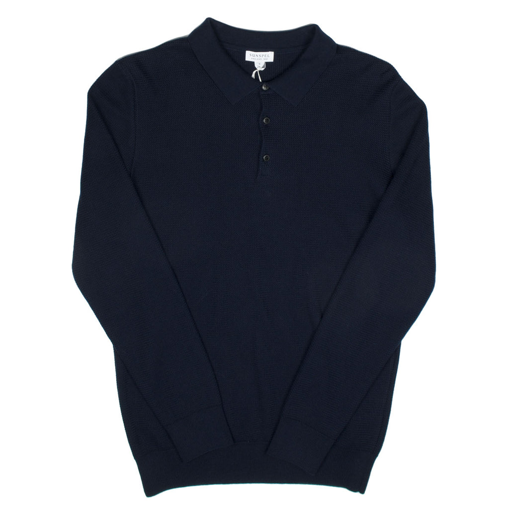Sunspel - LS Polo Shirt - Navy