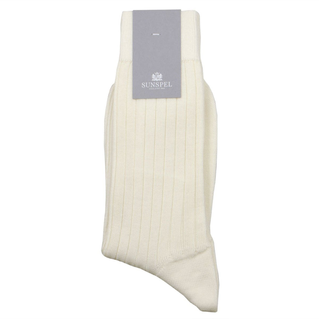 Sunspel - Merino Rib Socks - Archive White