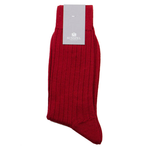 Sunspel - Merino Rib Socks - Madder (Red)
