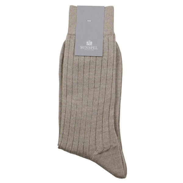 Sunspel - Merino Rib Socks - Oatmeal Melange