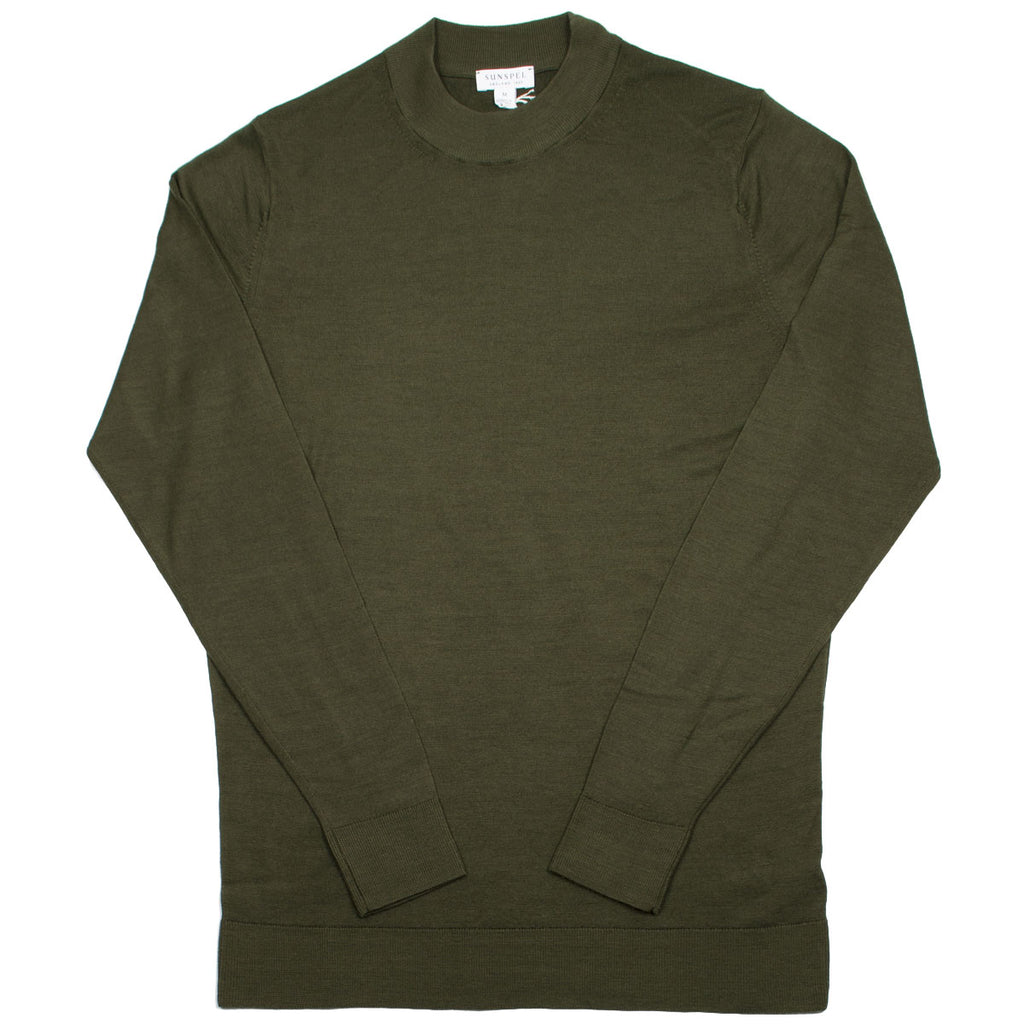 Sunspel - Mock Neck Merino Jumper - Green
