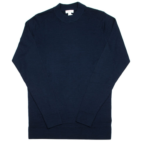 Sunspel - Mock Neck Merino Jumper - Light Navy