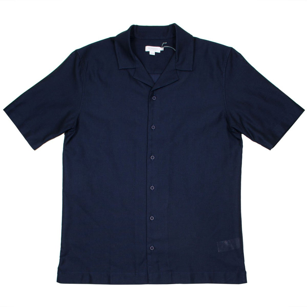 Sunspel - Short Sleeve Collar Shirt - Navy