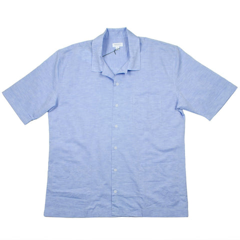Sunspel - Short Sleeve Leisure Shirt - Blue Linen