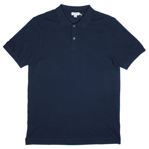 Sunspel - Short Sleeve Piqué Polo Shirt - Navy