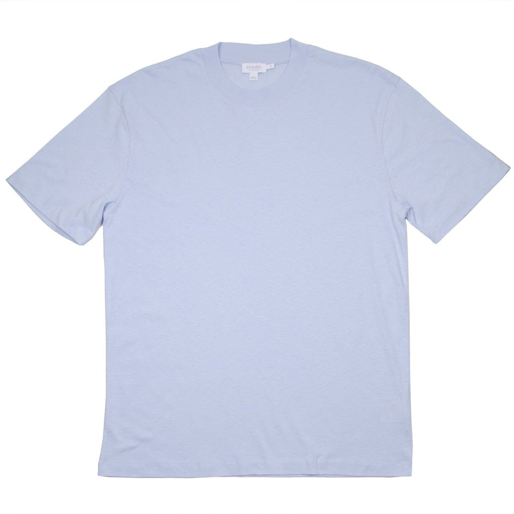 Sunspel - Short Sleeve Relaxed Slub Cotton Crew Neck T-shirt - Sky