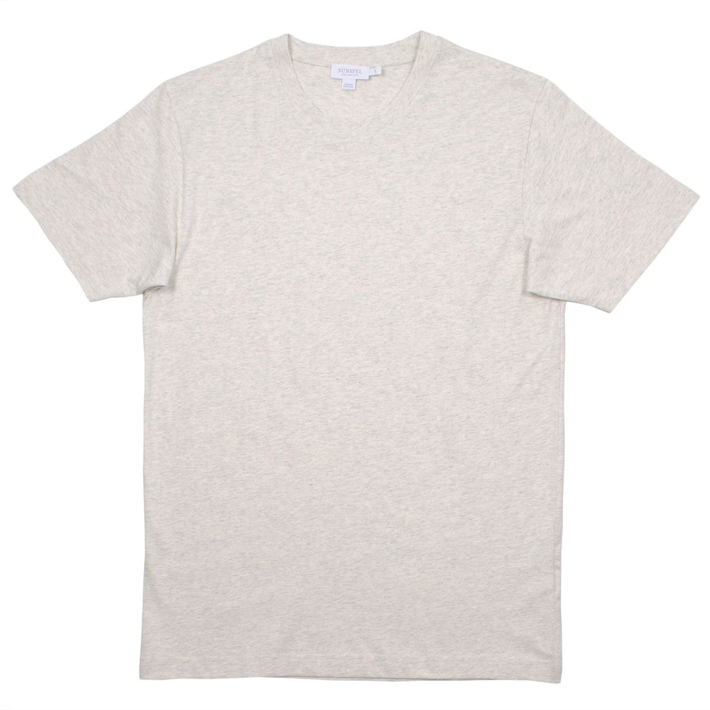 Sunspel - Short Sleeve Riviera Crew Neck T-shirt - Archive White Mel.
