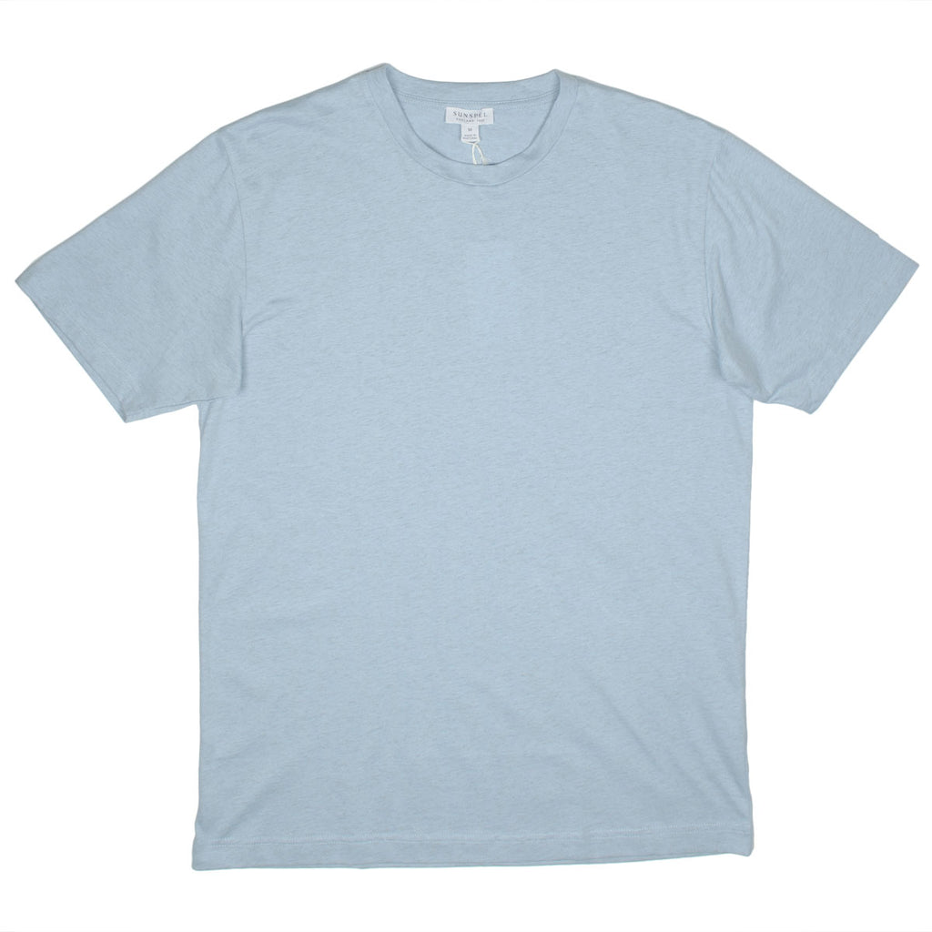 Sunspel - Short Sleeve Riviera Crew Neck T-shirt - Blue Jean Melange