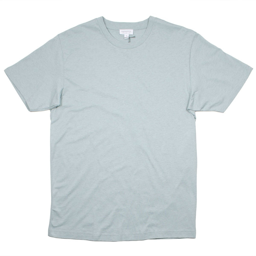 Sunspel - Short Sleeve Riviera Crew Neck T-shirt - Light Indigo Mel.