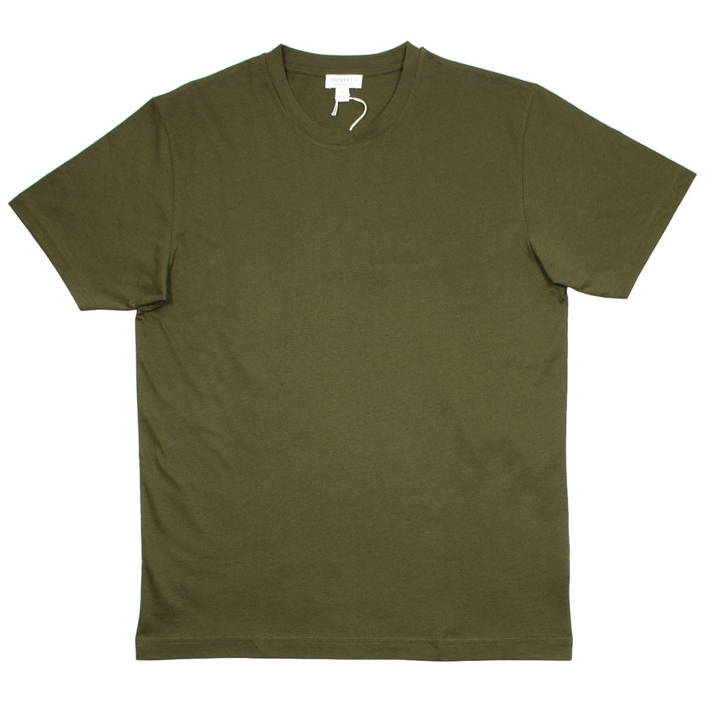 Sunspel - Short Sleeve Riviera Crew Neck T-shirt - Military Green