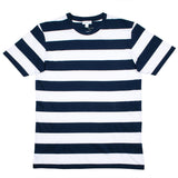 Sunspel - Short Sleeve Riviera Crew Neck T-shirt - Navy/White Stripe