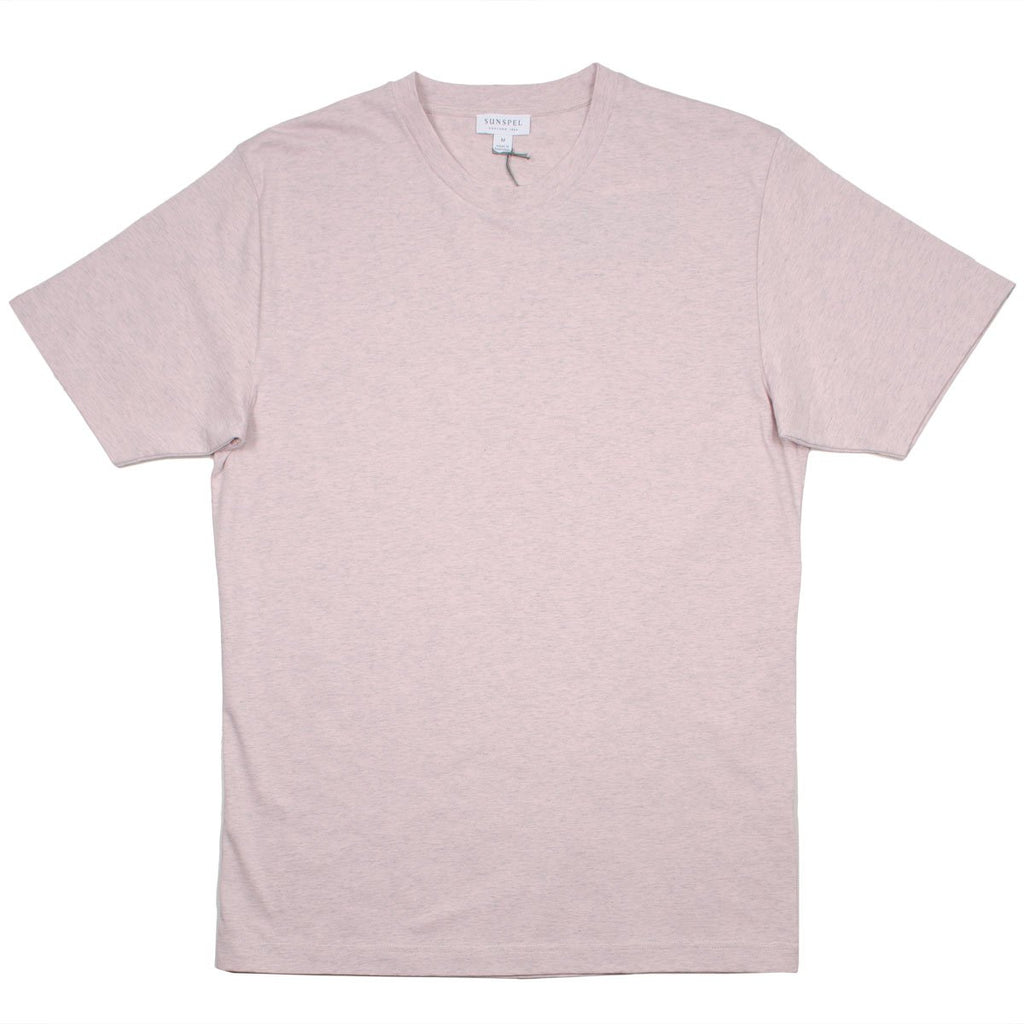 Sunspel - Short Sleeve Riviera Crew Neck T-shirt - Pale Pink Melange