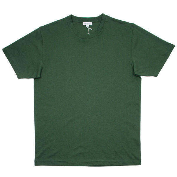 Sunspel - Short Sleeve Riviera Crew Neck T-shirt - Pine Melange