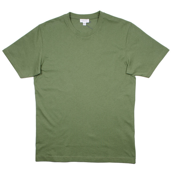 Sunspel - Short Sleeve Riviera Crew Neck T-shirt - Rosemary Melange