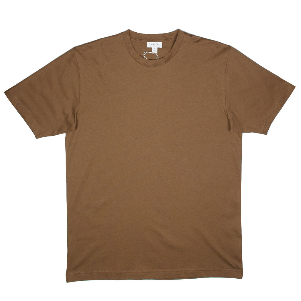 Sunspel - Short Sleeve Riviera Crew Neck T-shirt - Tobacco Melange
