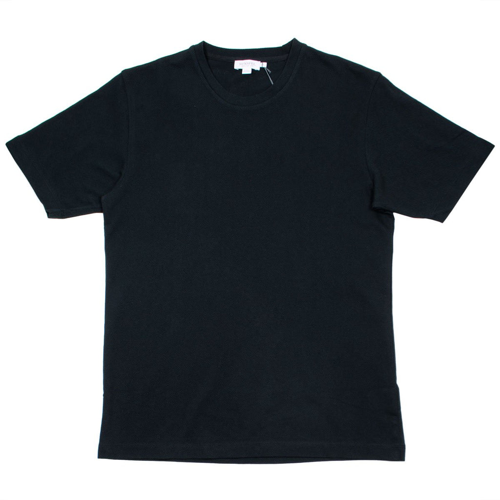 Sunspel - Short Sleeve Riviera Mesh Crew Neck T-shirt - Black