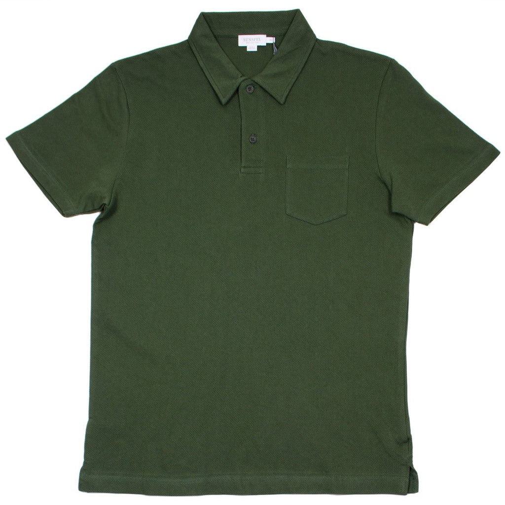 Sunspel - Short Sleeve Riviera Polo - Dark Olive