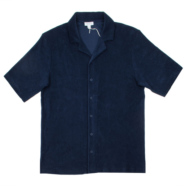 Sunspel - Towelling Camp Collar Shirt - Navy