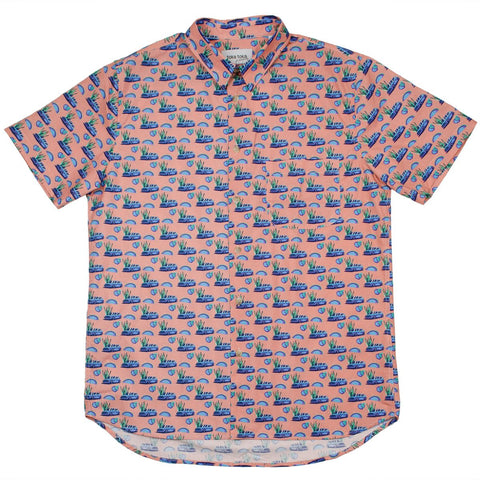 Toka Toka - Ringo Short Sleeve Shirt - Salmon Golf Print