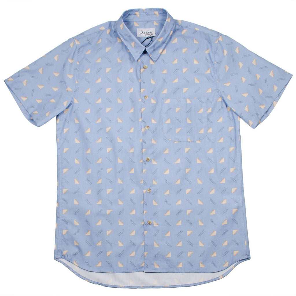 Toka Toka - Ringo Short Sleeve Shirt - Triangle Grey (Bleached Denim)