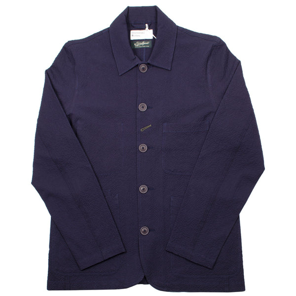Universal Works - Bakers Jacket Seersucker - Navy