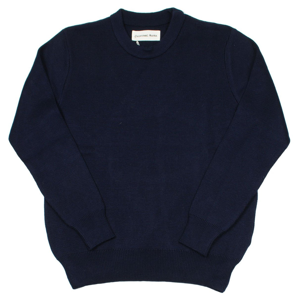 Universal Works - Loose Fisherman Jumper Merino ½ Milano - Navy