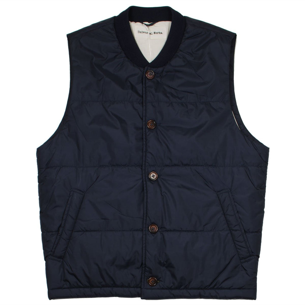Universal Works - Quilted Gilet Italian Nylon - Navy