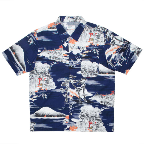 Universal Works - Road Shirt - Fuji Summer Print - Navy