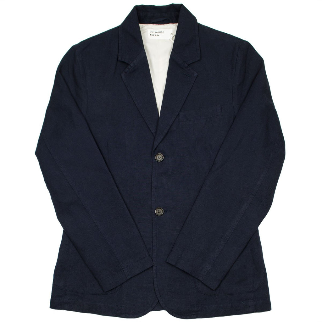 Universal Works - Two Button Jacket Cotton Linen Panama - Navy