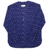 Universal Works - V-neck Overshirt Ikat Lines - Navy