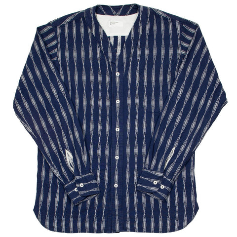 Universal Works - V-neck Shirt Congo Stripe - Navy