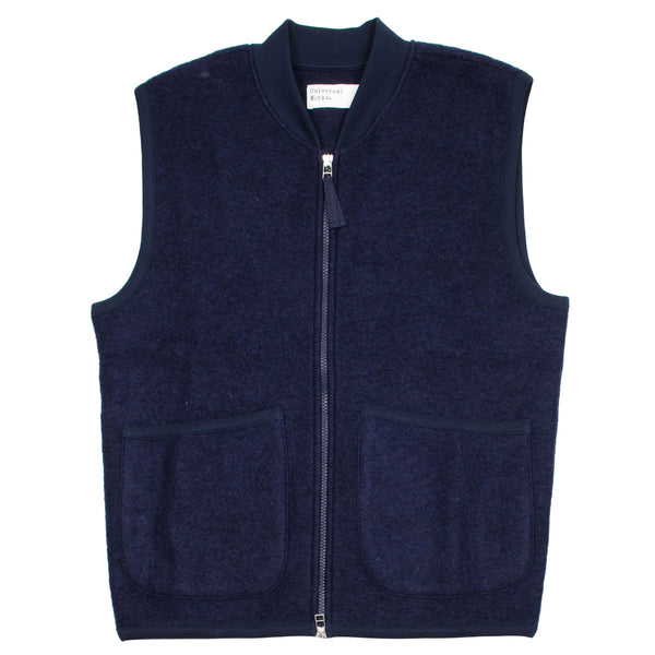 Universal Works - Zip Waistcoat Wool Fleece - Navy