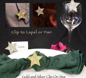 Clip-On-Star-12 to a box (Available in gold and silver)  Call for BULK PRICING.
