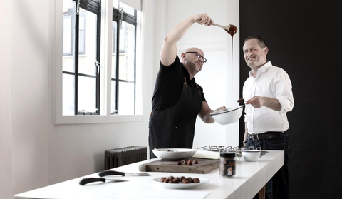 Steve (L) and Giles (R) in the kitchen