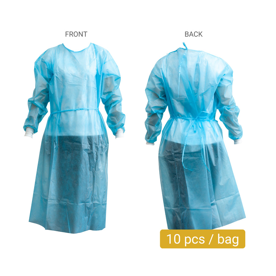 Level 2 Disposable Isolation Gown (10 pcs) - Knitted Cuff
