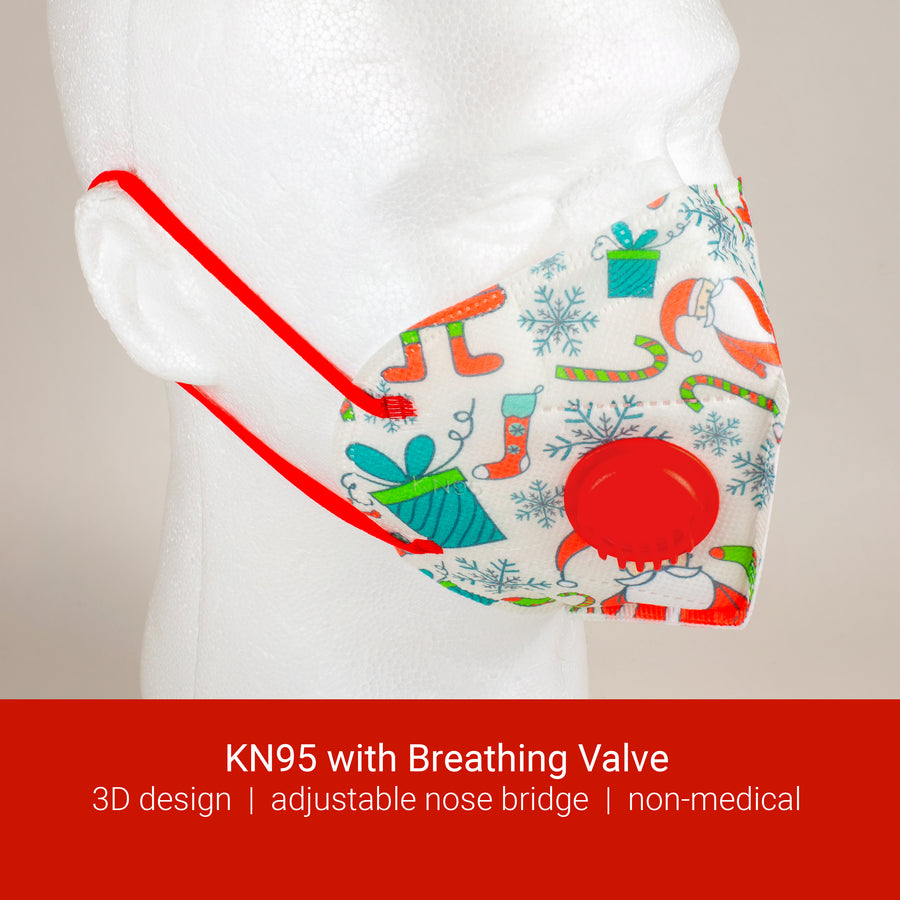 KN95 with Breathing Valve - Christmas Print