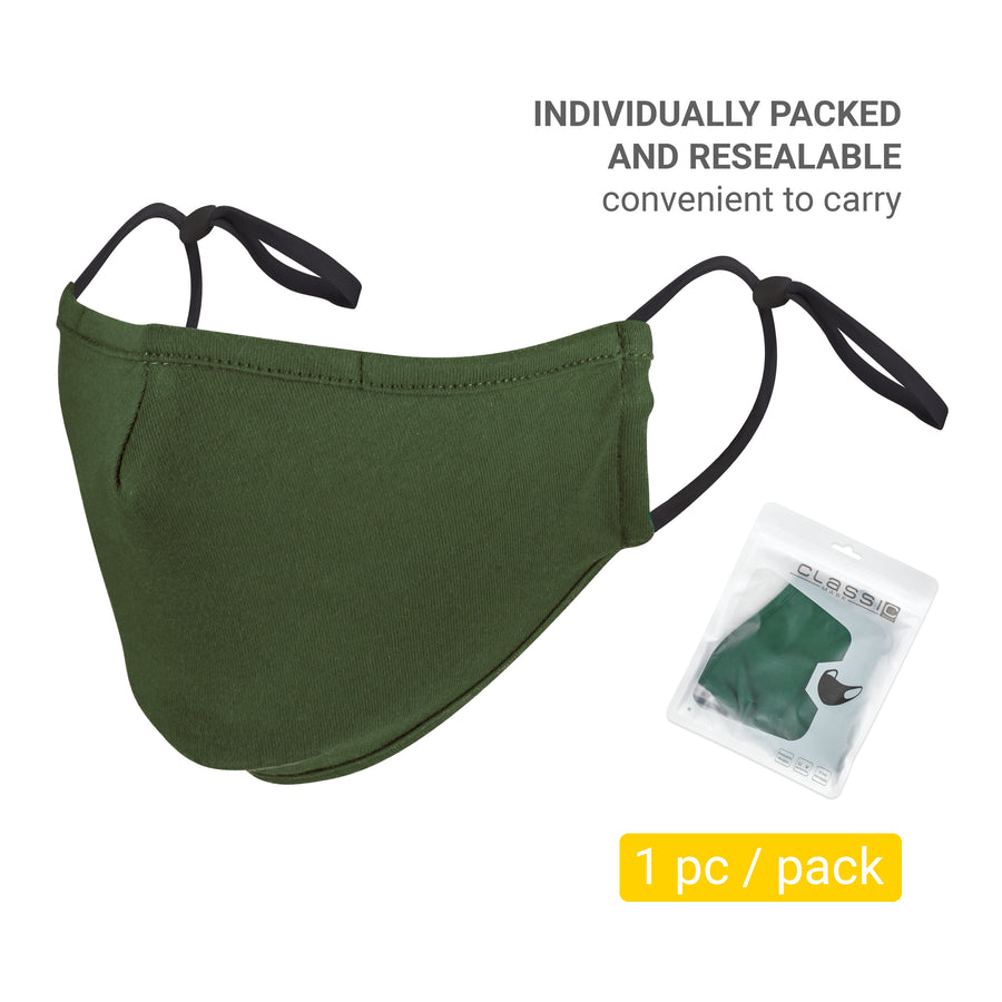 100% Cotton 3-Layer Face Mask - Reusable & Washable Green