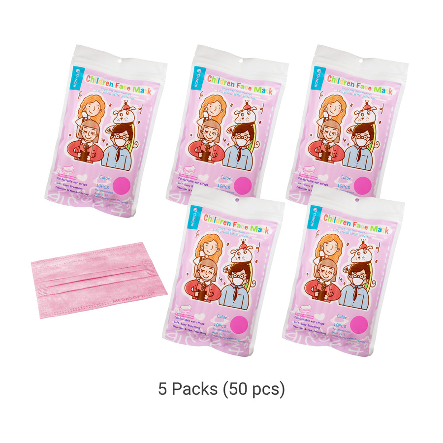 Children Face Mask - Longer Ear Straps Pink 5 Packs