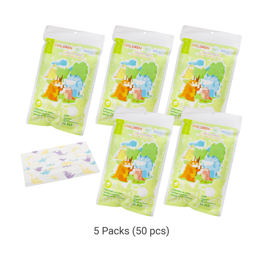 Children Face Mask - Longer Ear Straps Dinosaur 5 Packs