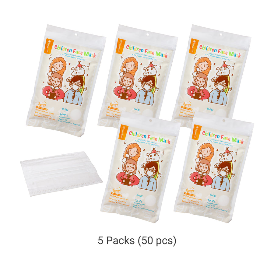 Children Face Mask - Longer Ear Straps White 5 Packs
