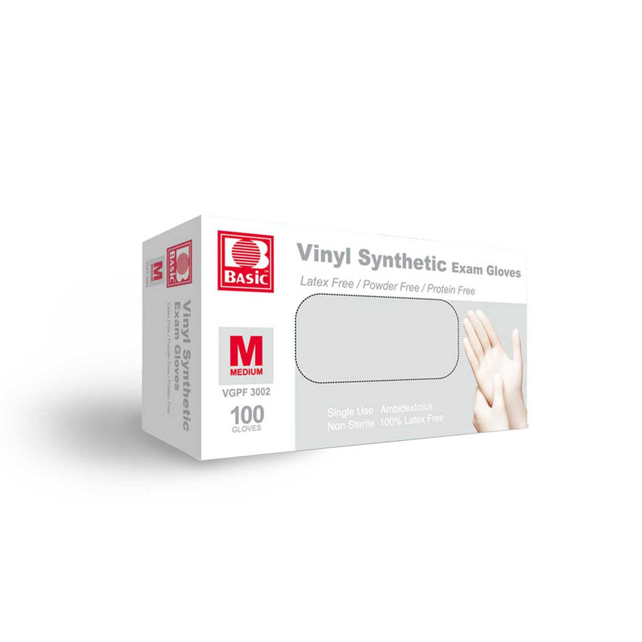 Vinyl Synthetic Exam Gloves (100 gloves) Medium