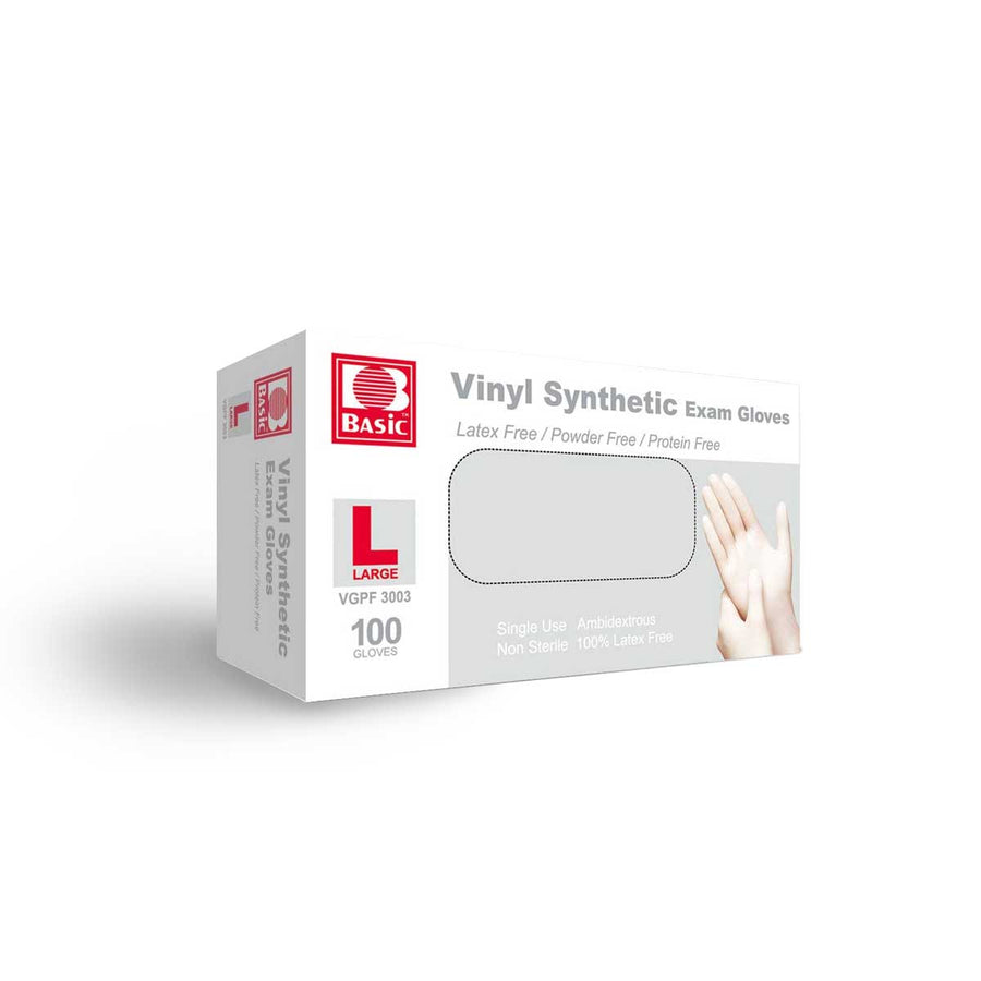 Vinyl Synthetic Exam Gloves (100 gloves) Large