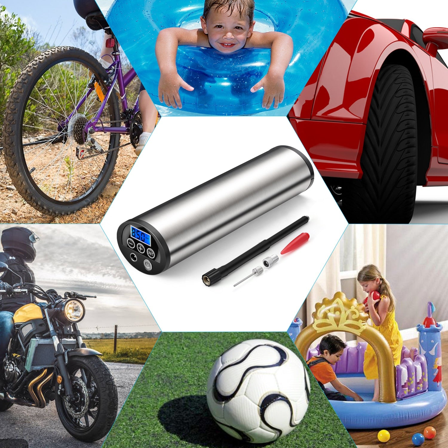 Electric Portable Car Bicycle Bike Pump
