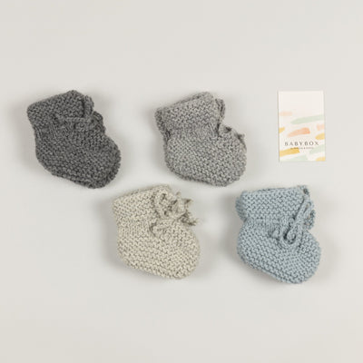 Babybox and Family BabyBox Collection Handmade Babyschuhe aus Wolle & Alpaka 56/62 grau