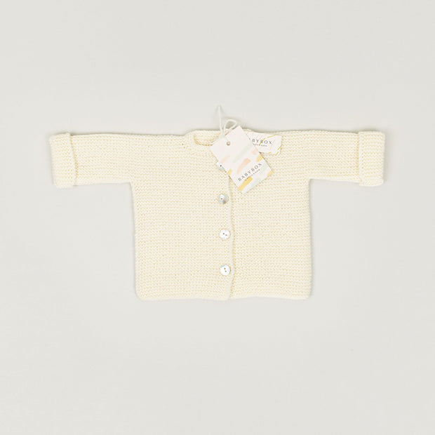 Babybox and Family BabyBox Collection Handmade Strickjacke aus Merinowolle 0-6m creme