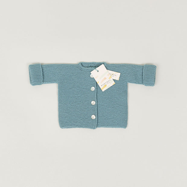 Babybox and Family BabyBox Collection Handmade Strickjacke aus Merinowolle 0-6m mint