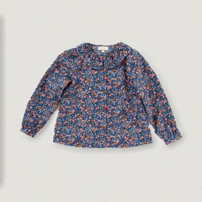 Babybox and Family Olivier London Bluse aus Baumwolle 3-6 M Blumen Muster/Blau