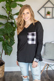 Buffalo Plaid Pocket Top | Black and White Buffalo