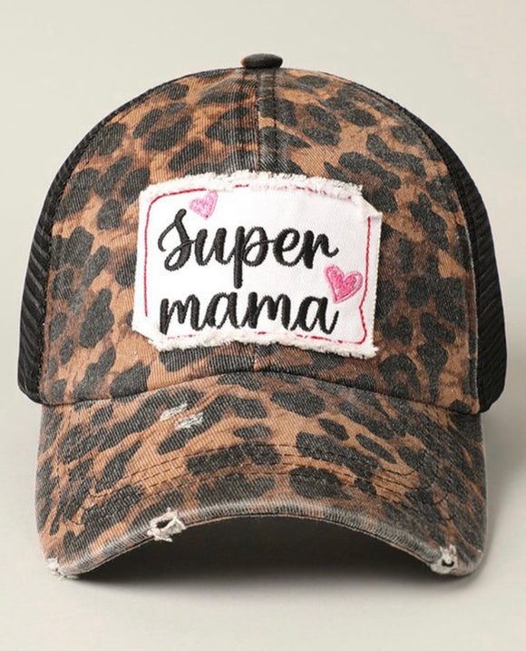 Super Mama Patch Leopard Print Mesh Back Adjustable Baseball Cap