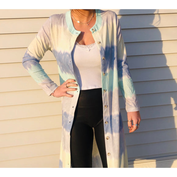 Blue / Green Multi Color Duster / Cardigan - RTS